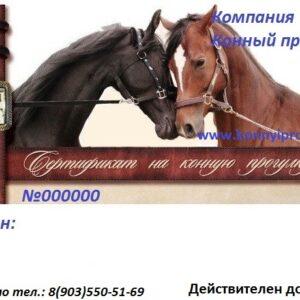Подарочный сертификат на конную прогулку №3